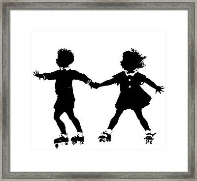Silhouette Of Children Rollerskating Framed Print