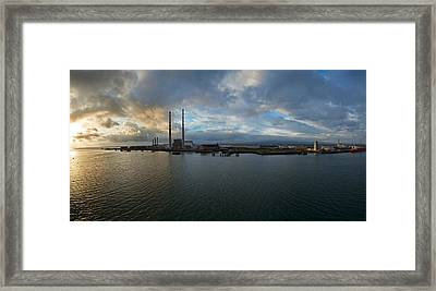 Silhouette Of Chimneys Of The Poolbeg Framed Print by Panoramic Images