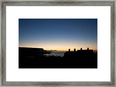 Silhouette Of Coastguard Cottages At Seaford Head At Sunrise Framed Print