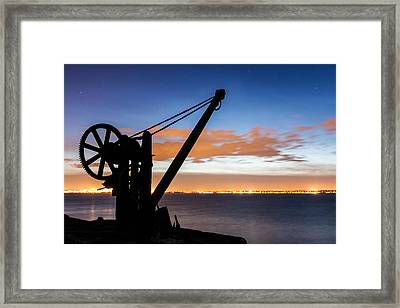 Silhouette Of Davit Framed Print by Semmick Photo