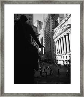 Silhouette Of George Washington Statue Framed Print