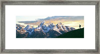 Silhouette Of Hiker Looking At Teton Framed Print by Panoramic Images