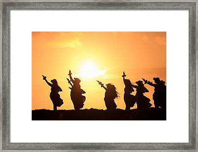 Silhouette Of Hula Dancers At Sunrise Framed Print by Panoramic Images