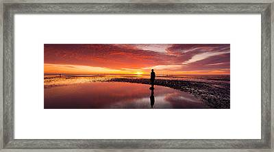 Silhouette Of Human Sculpture Framed Print by Panoramic Images