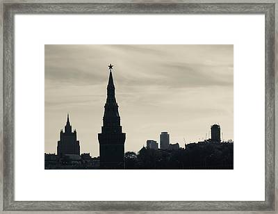 Silhouette Of Kremlin Towers, Moscow Framed Print by Panoramic Images