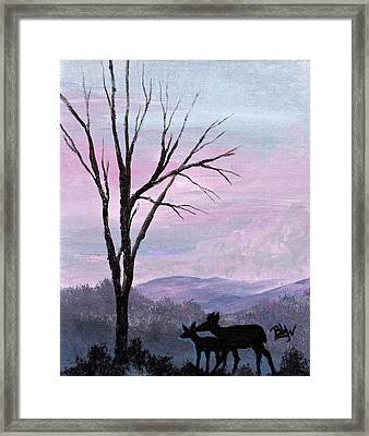 Silhouette Of Love Framed Print by Barbara Willms