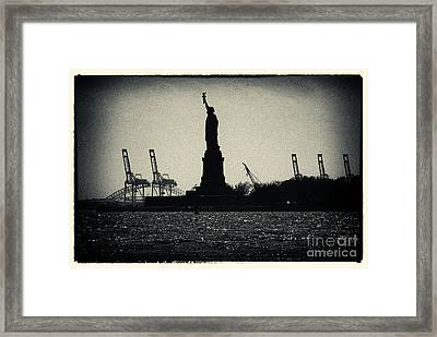Silhouette Of Miss Liberty Framed Print by Sabine Jacobs