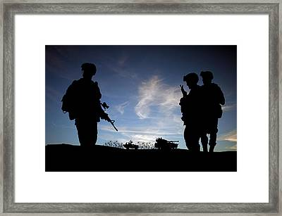Silhouette Of Modern Soldiers  Framed Print by Matthew Gibson