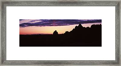 Silhouette Of Mountains At Dusk Framed Print