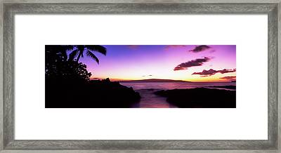 Silhouette Of Palm Trees At Dusk, Maui Framed Print by Panoramic Images