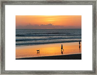 Silhouette Of People And Dog Walking Framed Print by Panoramic Images
