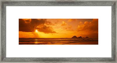 Silhouette Of Rock Formations In Water Framed Print by Panoramic Images