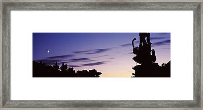 Silhouette Of Rock Formations, Teapot Framed Print