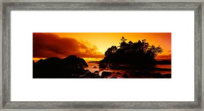 Silhouette Of Rocks And Trees Framed Print
