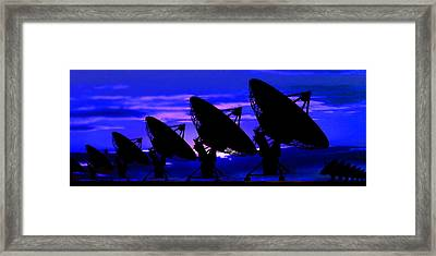 Silhouette Of Satellite Dishes Framed Print by Panoramic Images