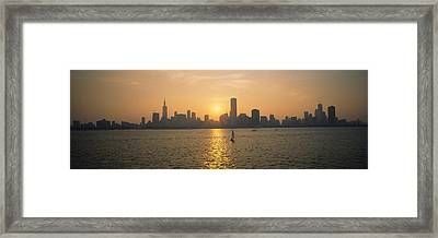 Silhouette Of Skyscrapers Framed Print