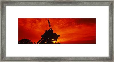 Silhouette Of Statues At A War Framed Print by Panoramic Images