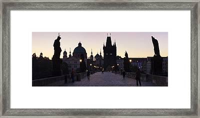 Silhouette Of Statues On Charles Bridge Framed Print