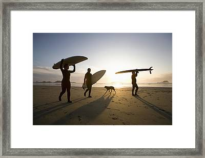 Silhouette Of Three Surfers And A Dog Framed Print by Deddeda