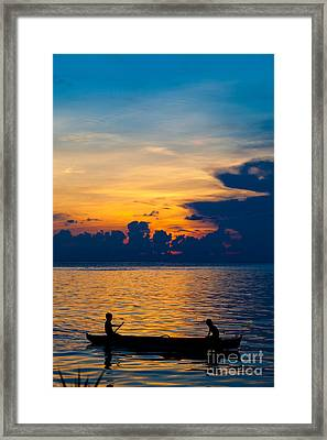 Silhouette On Peaceful Sunset Borneo Malaysia Framed Print