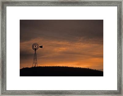 Silhouette Windmill Framed Print