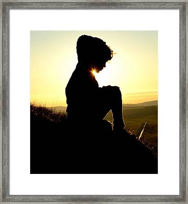 Silhouetted Child Framed Print by Mr Doomits