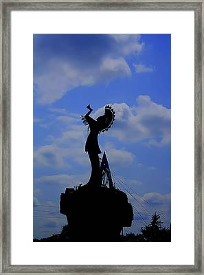 Silhouetted Keeper Of The Plains Framed Print