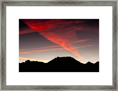Silhouetted Mountains At Sunset Framed Print