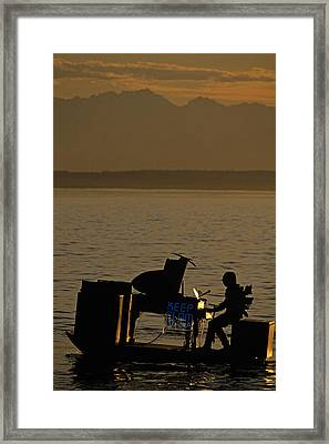 Silhouetted Sea Monster Playing Piano.tif Framed Print by Jim Corwin