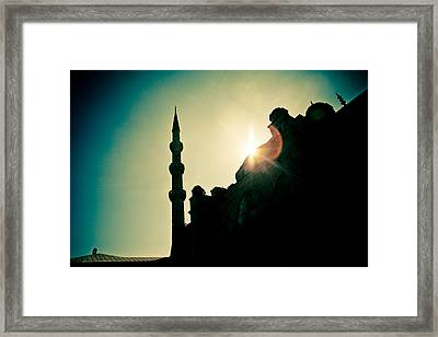 Silhouettes Of Blue Mosque Istambul Turkey Framed Print by Raimond Klavins