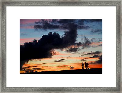 Silhouettes Of Three Girls Walking In The Sunset Framed Print by Fabrizio Troiani