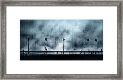 Silhouettes Sur La Passerelle. Blue. Framed Print by Sol Marrades