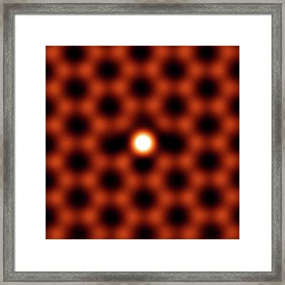Silicon Atom In Graphene Framed Print by Ornl
