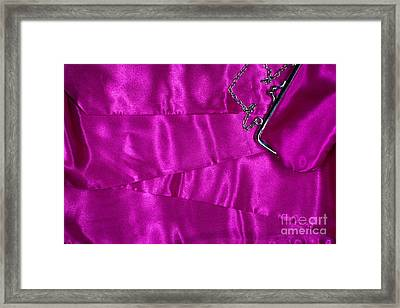 Framed Print featuring the photograph Silk Background With Purse by Gunter Nezhoda