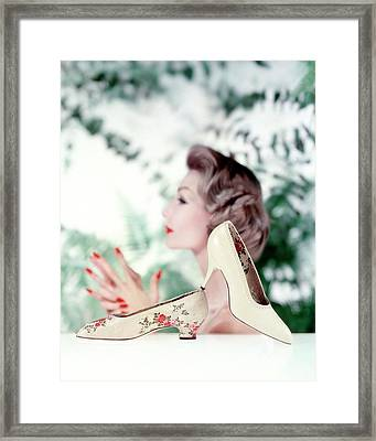 Silk Brocade Pumps Framed Print by John Rawlings