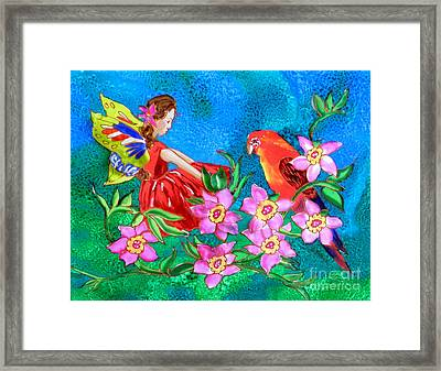 Silk Fairy And Parrot Framed Print