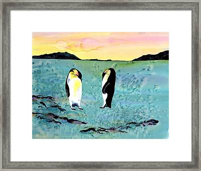 Silk Penguins Framed Print by Carolyn Doe