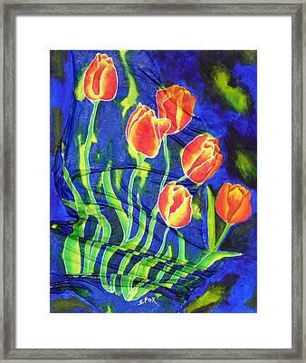Silk Tulips Framed Print