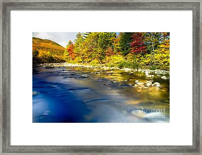 Silky Saco River Autumn Scenic I Framed Print by George Oze