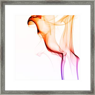 Silky Smoke On White Framed Print