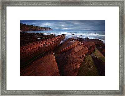 Silky Wave And Ancient Rock 1 Framed Print