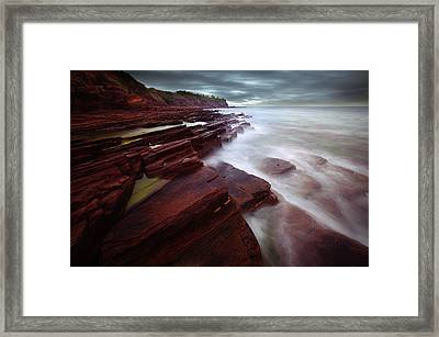 Silky Wave And Ancient Rock 3 Framed Print