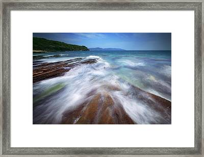Framed Print featuring the photograph Silky Wave And Ancient Rock 5 by Afrison Ma