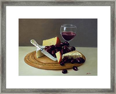 Sill Life Cheese Board Framed Print by John Silver