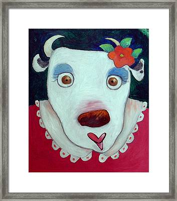 Silly Cow Oil On Canvas Framed Print by Maylee Christie