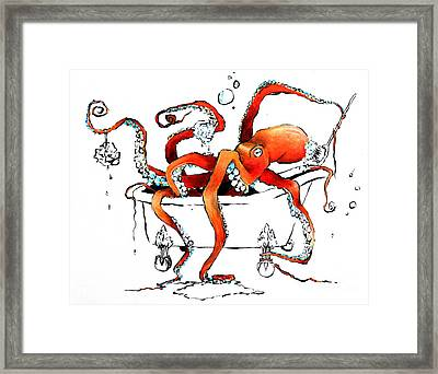Silly Octopus Taking A Bath Framed Print