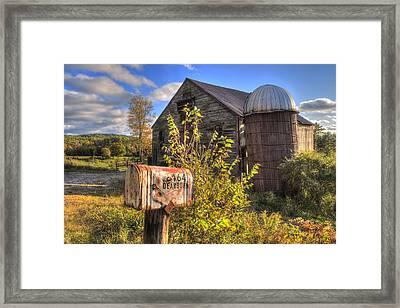 Silo And Barn In Autumn Framed Print by Joann Vitali