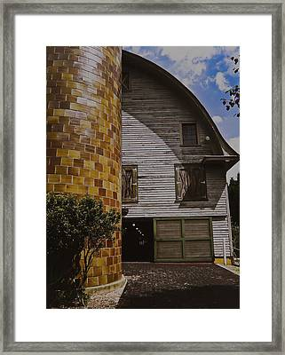 Framed Print featuring the painting Silo And Horse Stable by Debra Crank