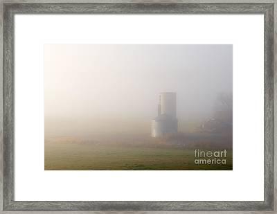 Silo In The Fog Framed Print by Mike  Dawson