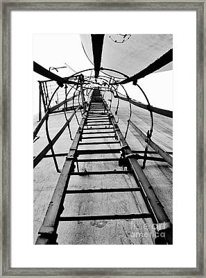 Silo Ladder Framed Print by Lynda Dawson-Youngclaus